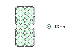 Diagram of Medium Standard 25mm acrylic display case base