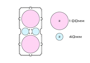 Diagram of Medium Standard 100mm acrylic display case base