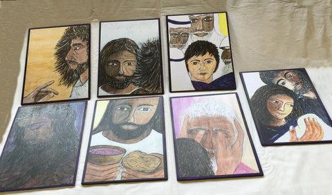 S2A - Faces of Easter 7 plaques showing faces of Christ