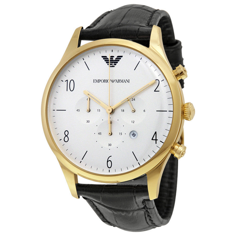 Classic Chronograph White Dial Black Leather Men's Watch