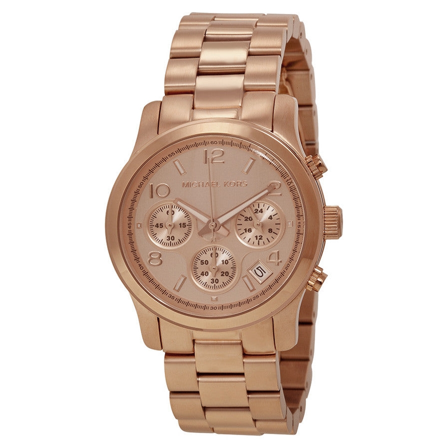 Runway Chronograph Gold Dial Rose Gold-tone Ladies Watch