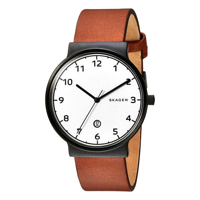 Ancher Black Stainless Steel Brown Leather Men's Watch