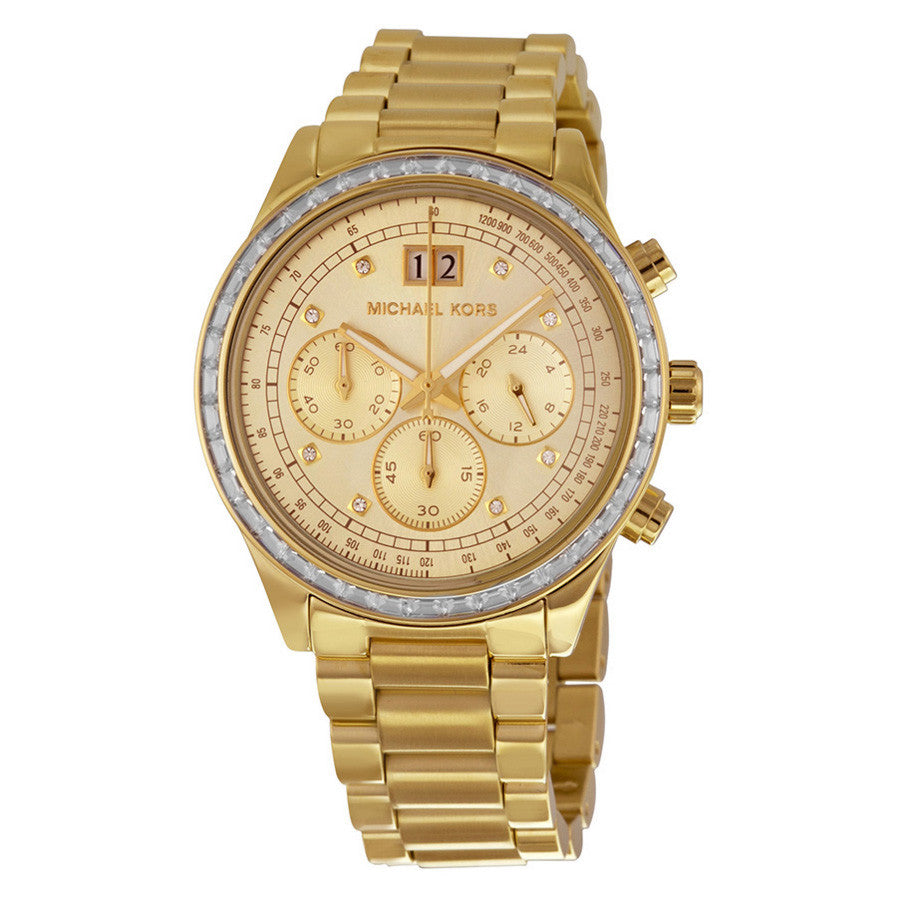 Brinkley Chronograph Gold Dial Gold-tone Ladies Watch