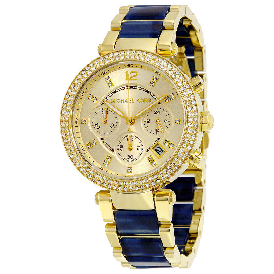 Parker Multi-Function Gold Dial Gold-plated and Blue Tortoise-shell Acetate Ladies Watch