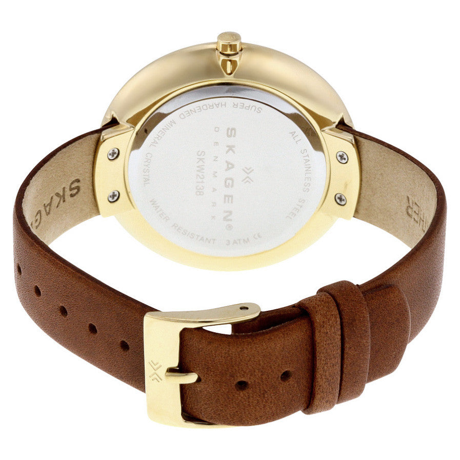 Gitte Gold Dial Brown Leather Ladies Watch