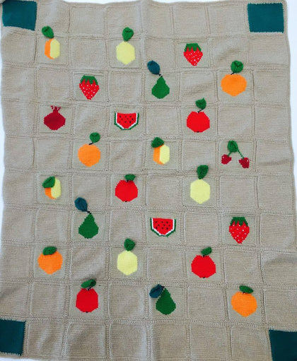 "Knitted Baby Blanket ""Fruits"""