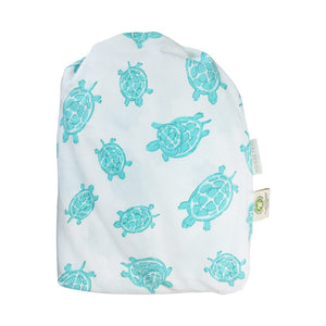 GOTS-Certified Organic Cotton Playard Sheet – Aqua Turtle – bag