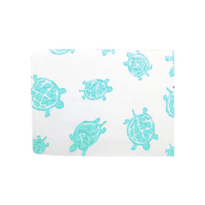 side Playard Sheet in GOTS-Certified Organic Cotton – Turtle Aqua
