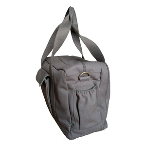 Organic Canvas Diaper Bag Baby Beluga Gray edge