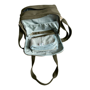 Organic Canvas Diaper Bag Olive side open