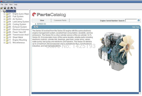 Detroit Diesel Engine Series 8.2L, 50, 55, 60, 2000, 4000 Parts Manual EPC Software All Models & S\n Up To 2011