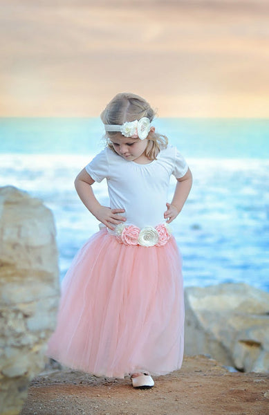 blush flower girl tulle skirt