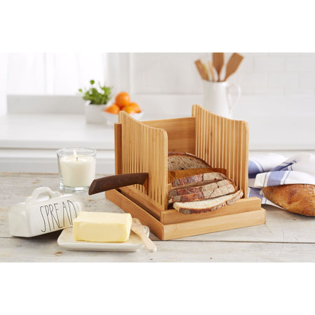 Foldable Natural Bamboo Bread Slicer