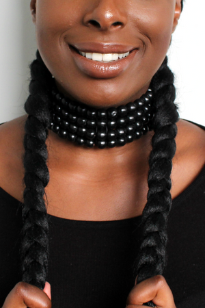 Close up image of woman wearing the Beaded Choker