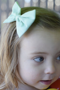 Mint Fabric Bow - Mattie and Mase