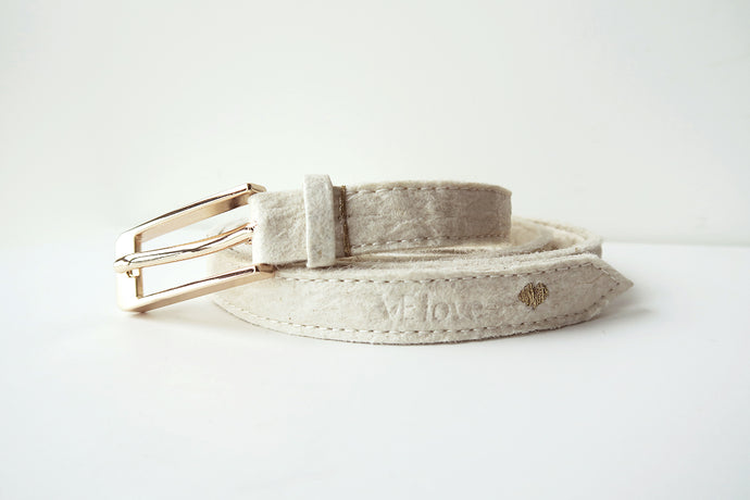 Pinatex Alice Belt - Cream - VElove