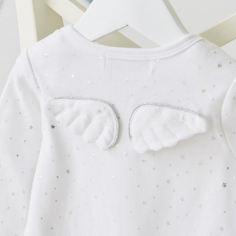 Silver Star Angel Wing Babygrow White