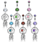 Dream Catcher with Woven Bead and Feathers Belly Ring