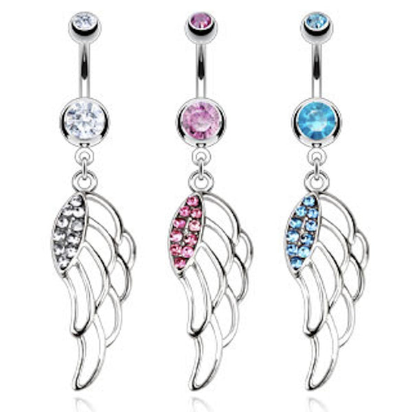 Angel Wing Dangle Belly Button Ring