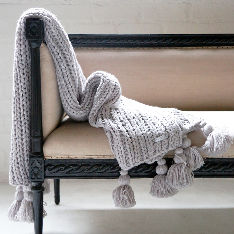 Chunky Tassel Throw - Steel