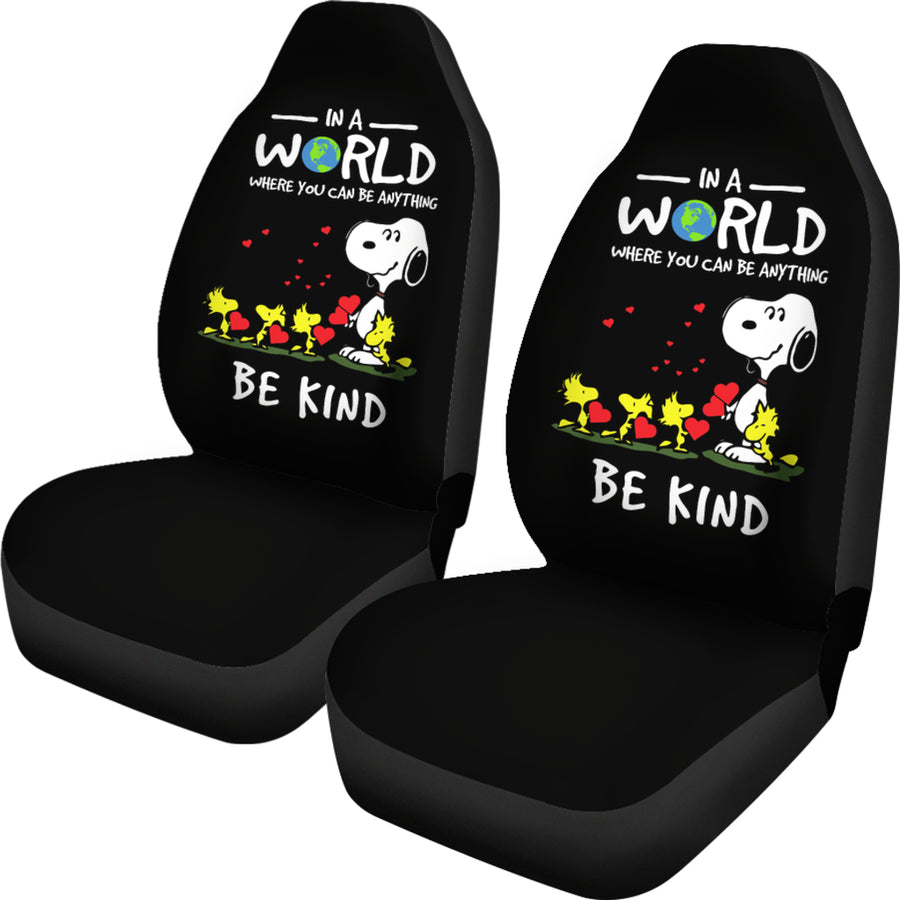 In A World Where You Can Be Anything Be Kind Snoopy Car Seat Covers (Set of 2)