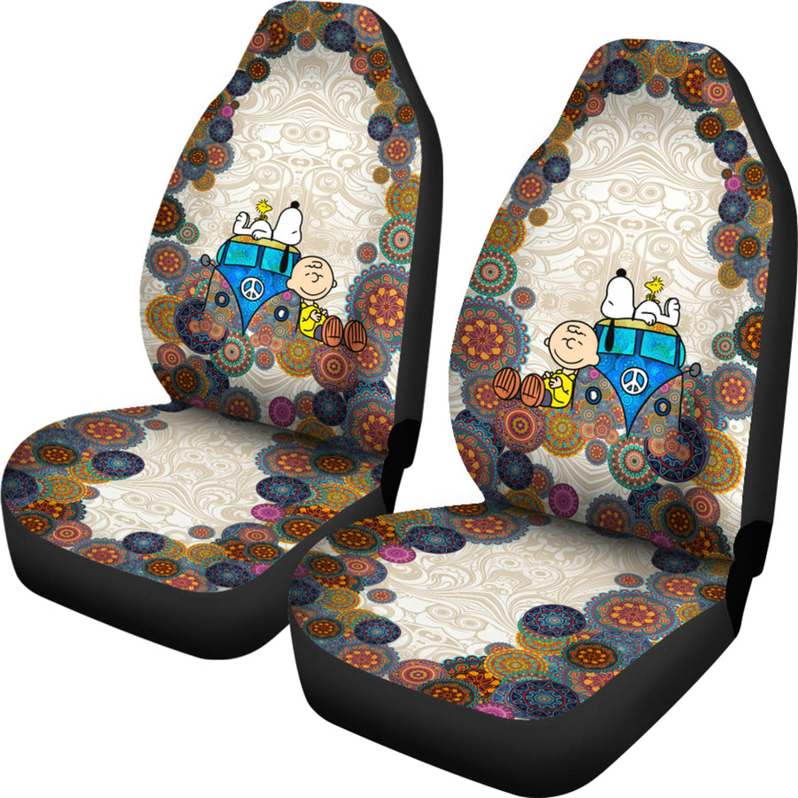 Snoopy On VW Bus - Car Seat Covers - (Set of 2)