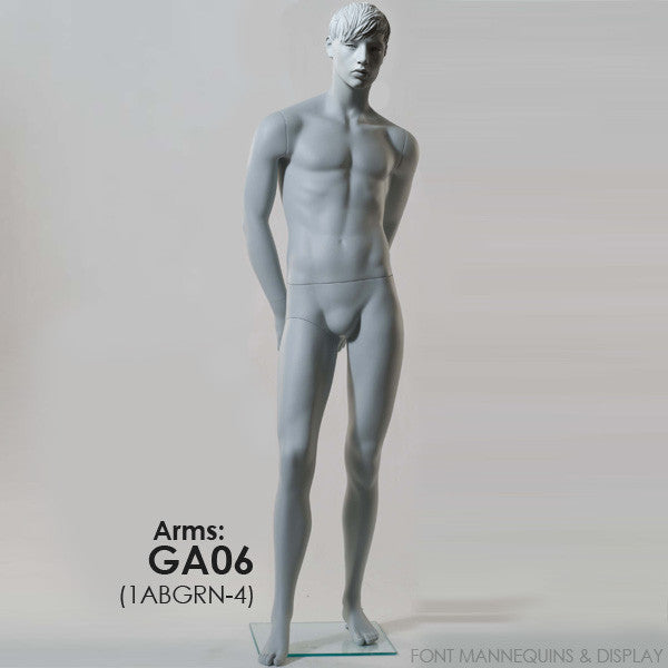 RENT European Made Male Sculpted Mannequin GA06 or GA08, Head 2, Ral9001, Glass Square Base