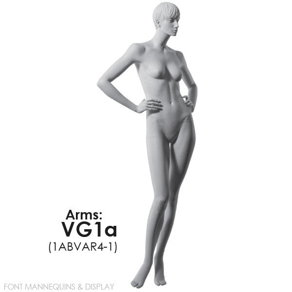 RENT European Made Female Sculpted Mannequin VG1A or VG3A, Head V1, Ral9001, Glass Square Base