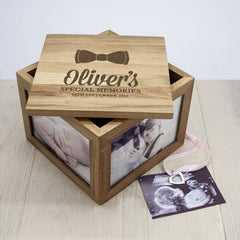 Baby Boy's Bow Tie Personalised Oak Photo Keepsake Box - Luxe Gift Store
