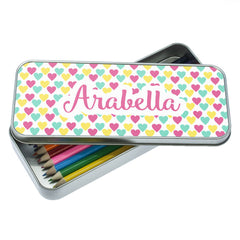 Girl's Colourful Heart Pattern Personalised Pencil Case - Luxe Gift Store