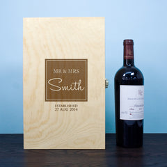Couple's 'Mr & Mrs' Personalised Double Wine Box - Luxe Gift Store