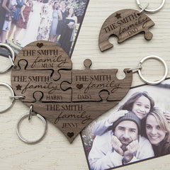 Our Family Personalised Heart Wooden Jigsaw Keyring -