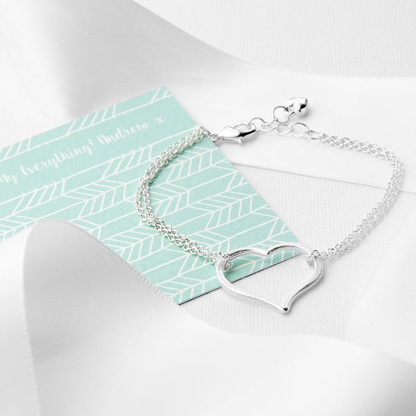 Silver Plated Personalised Open Heart Friendship Bracelet
