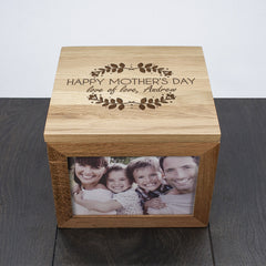 Happy Mother's Day Large Oak Personalised Photo Cube - Luxe Gift Store