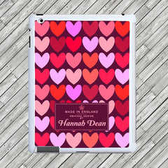 Girl's Personalised Love Hearts Tablet and iPad Case - Purple or Pink - Luxe Gift Store