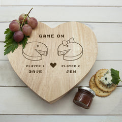 Couple's Retro 'Game On' Personalised Heart Cheese Board - Luxe Gift Store