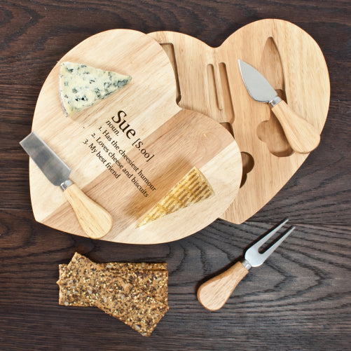 Your Definition Personalised Heart Cheese Set