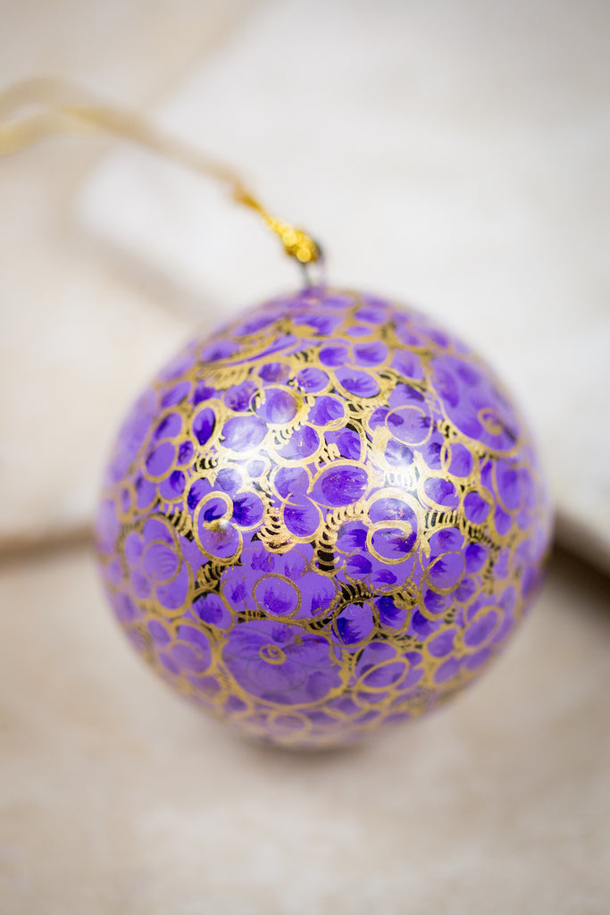 Handmade and hand painted decorative ornament purple gold