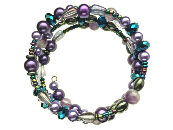 Amethyst, Hematite, and Glass Beads on Memory Wire
