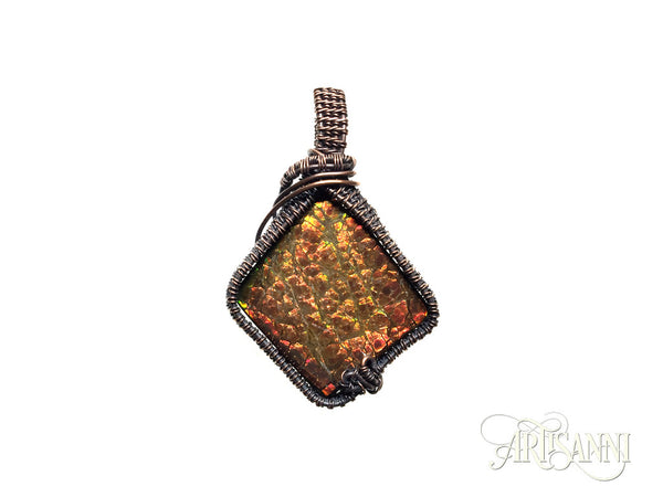 Ammolite Pendant in Antiqued Copper
