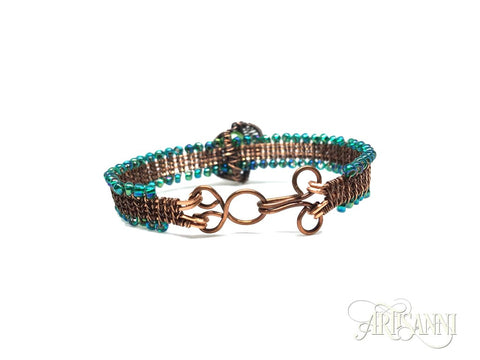 Antiqued Copper Bracelet with Leaves and Glass Beads - clasp