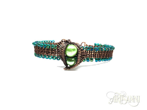 Antiqued Copper Bracelet with Leaves and Glass Beads - front
