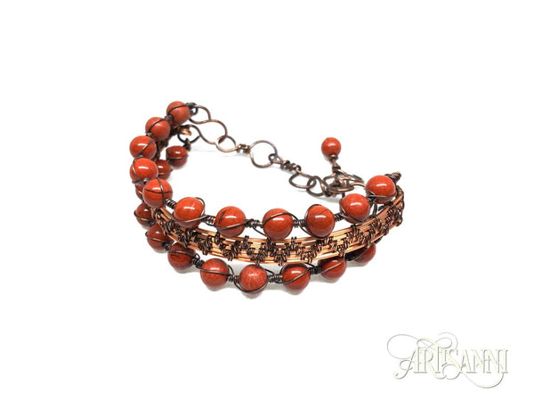 Antiqued Copper Bracelet with Red Jasper Beads