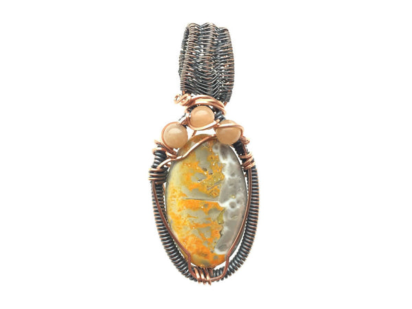 Bumble Bee Jasper Pendant in Antiqued Copper