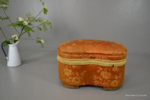 Vintage 1930s Upholstered Kidney Shape Sewing Box - Kernow Furniture - 1