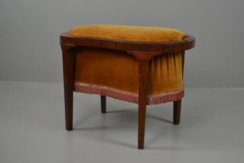 Vintage Bronze & Mahogany Sewing Tidy Footstool - Kernow Furniture 100s vintage, retro & antique items in stock