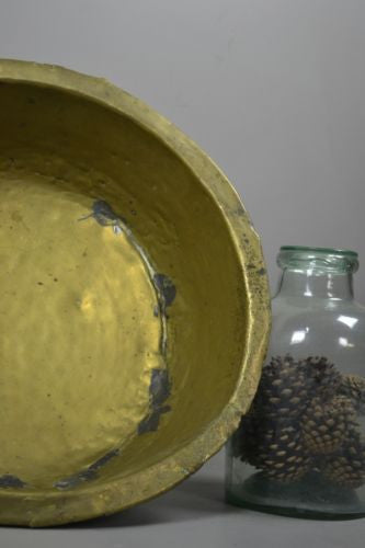 Large Vintage Brass Bowl - Kernow Furniture 100s vintage, retro & antique items in stock