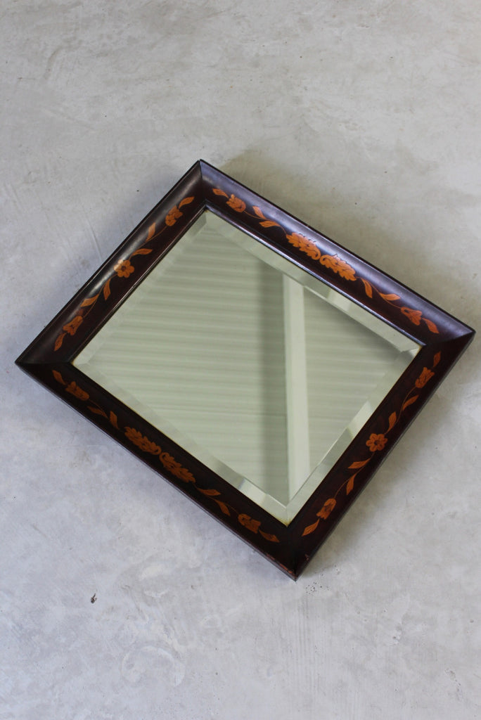 Antique Dutch Marquetry Inlaid Floral Rectangular Wall Mirror - vintage retro and antique furniture