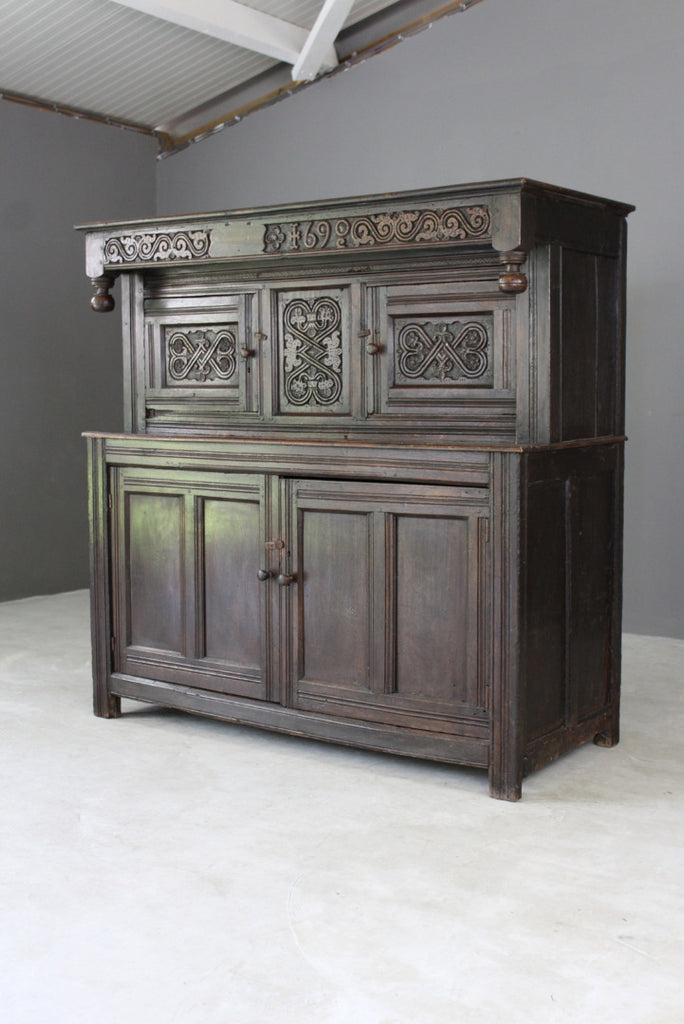 Antique Carved Oak Court Cupboard - vintage retro and antique furniture
