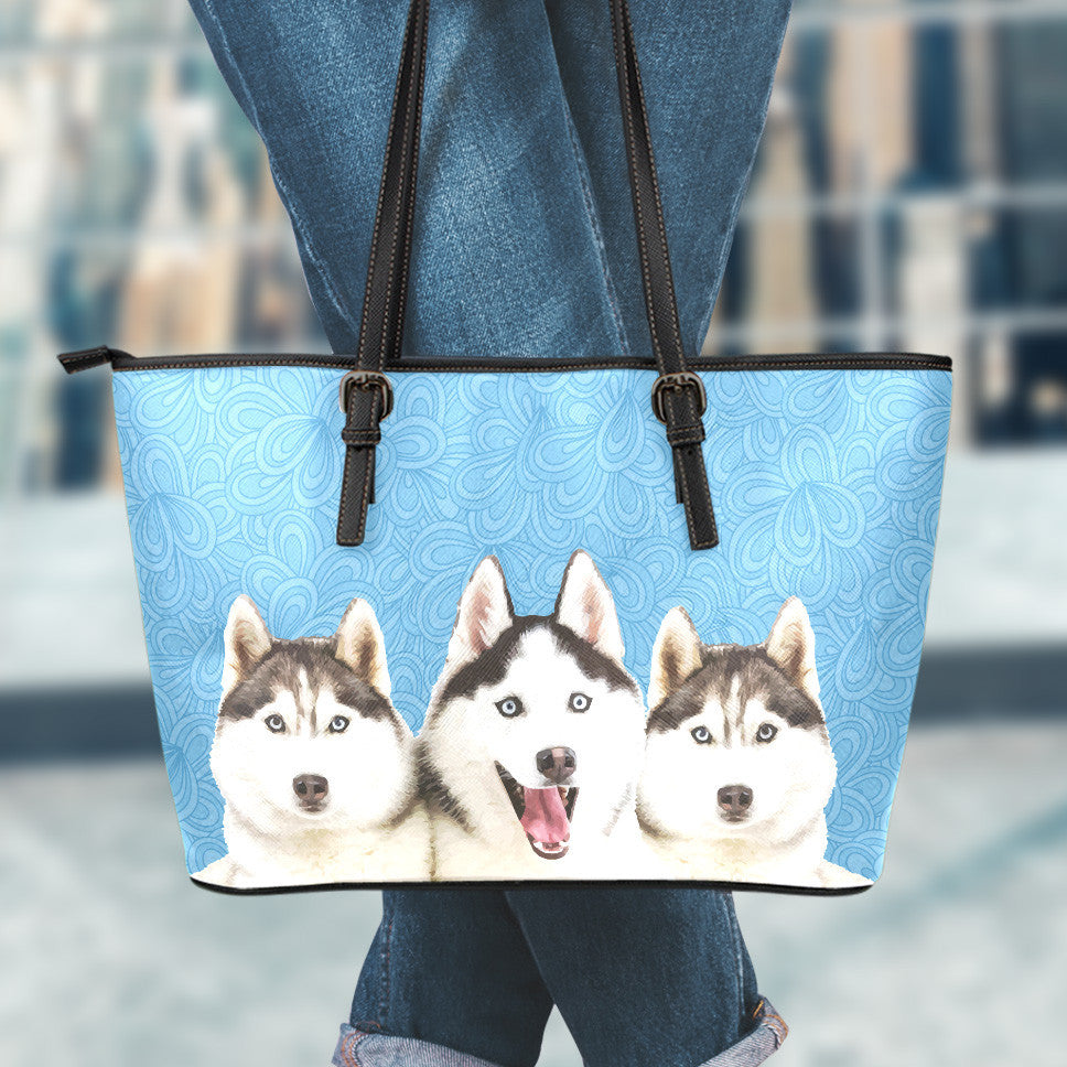 Huskies Large Leather Tote Bag
